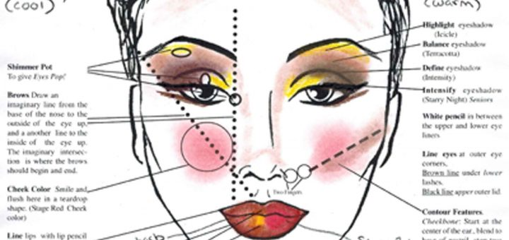 Stage Makeup Color Face Chart